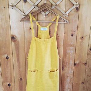 Yellow linen blend bib dress